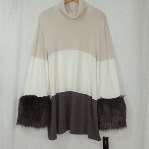 Alfani core fashion fur sleeves sweater